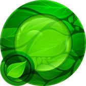 Green round button — Stock Vector