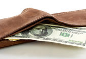 A purse with money — Stock Photo