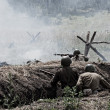 The reconstruction of the battle of the Second World War — Stock Photo