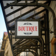 Foto Stock: Boutique shop sign