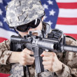 American soldier shooting — Stock Photo