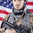 Portrait of American soldier - Stock Photo