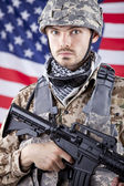 Portrait of American soldier — Stock Photo