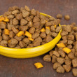 Dog food in bowl on wood background — Stock Photo