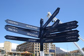 Kilometers distance pole in Cape Town — Stock Photo