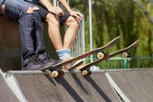 Skates sitting on mini-ramp ready to roll-in — Stock Photo