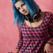 Punk girl DJ with dyed turqouise hair — Stock Photo #11619522