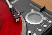 Closeup jehlu gramofonu na záznamu — Stock fotografie