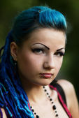 Portrait of pierced young girl — Stock Photo