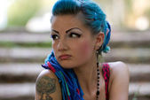 Blue hair and tattoo — Stock Photo