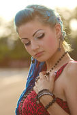 Pretty punk girl with blue hair — Stock Photo