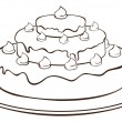 Stock Vector: Outline cake
