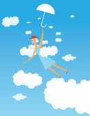 Chica voladora — Vector de stock