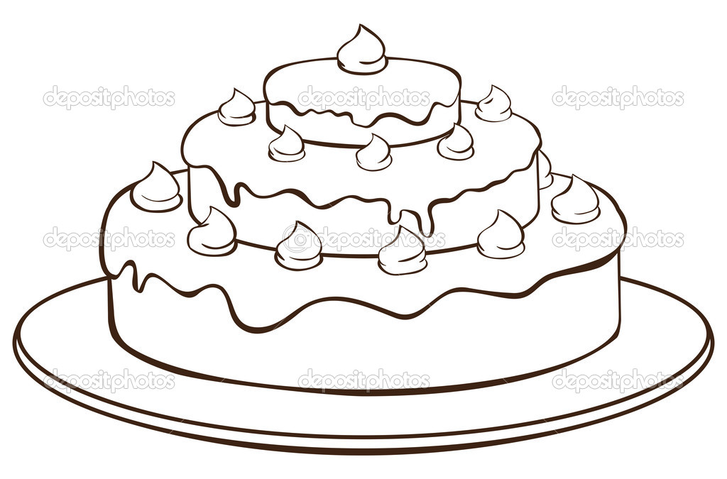 Outline illustration - cake on plate — Stock Vector #11422663