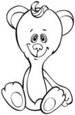 Outline funny bear — Vettoriale Stock