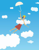 Flying girl — Vector de stock