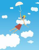 飞行的女孩 — 图库矢量图片