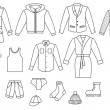 Outline mens clothing collection — Vector de stock #11647324