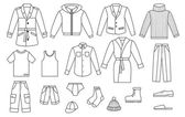 Colección de ropa para hombres de contorno — Vector de stock
