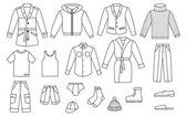 Overzicht mens kleding collectie — Stockvector