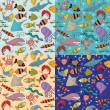 Seamless - underwater wildlife — Vector de stock #11779611