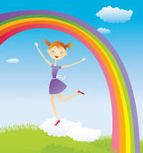 Girl on cloud and a rainbow — Stock Vector