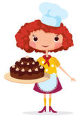 Girl cook with cake — Stock Vector