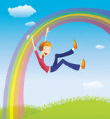 Boy on the rainbow — Stock Vector