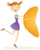 Meisje met croissants — Stockvector