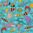 Seamless - underwater wildlife — Vector de stock #12139597