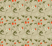 Seamless patterns with strawberries — Cтоковый вектор