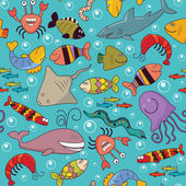 Seamless - underwater wildlife — Vector de stock