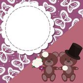 Wedding card with two teddy bears — Stock Vector