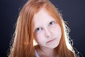 Girl with long red hair — Stock Photo