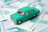 The old car and money — Stock Photo