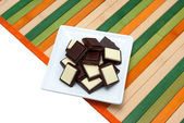 Food collection - Black and white chocolate — Stock Photo