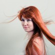 Beautiful woman with magnificent red hair — Stock Photo