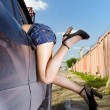 Girl hitchhiker - Stock Photo