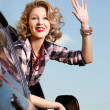 Blonde girl in car — Stock Photo #11530003