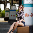 Girl at gas station — Stock Photo #11530028