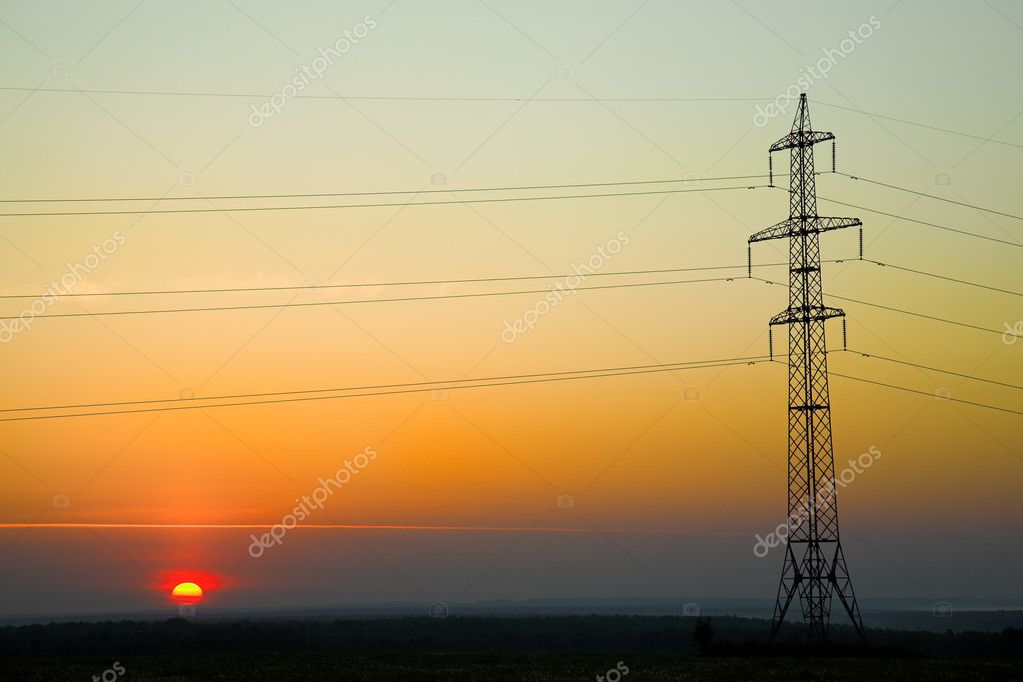 Wonder sunset and power line — Stock Photo #11338388