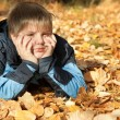 Boy in autumn park — Stock Photo #11688891