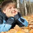 Stock Photo: Boy in autumn park