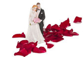 A wedding couple made of plastic, models for wedding cake — Stok fotoğraf