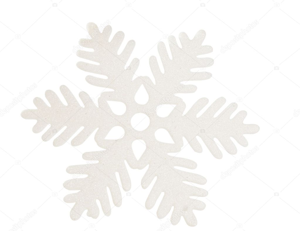 White snowflake isolated on white background — Stock Photo #11485193