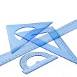 Collection of plastic transparent rulers — Stock Photo