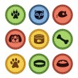 Set of cat and dog  icons in retro style — Stock Vector