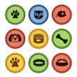 Set of cat and dog icons in retro style — Stock Vector #10855795