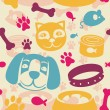 Bright seamless pattern with funny cat and dog — Stock Vector #10855803