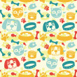 Bright seamless pattern with funny cat and dog — Stock vektor